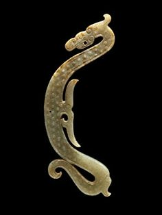 China, Dragon Plaque Pendant, Warring States Period, 475-221 BCE. Jade