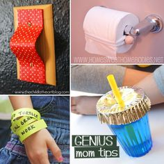 Genius hacks for moms: 30 Genius Mom Tricks May 26, 2015 by Rachel Moms, we all have tips that have rocked our worlds with their simplicity and usefulness. Here are just a few of the tips we have discovered. If you know of a tip we missed, PLEASE, come to our Facebook page and tell us your genius mom trick! 30 genius mom tricks Genius Mom Tricks Have sippy cups in the lowest drawer or cabinet, help your tots learn independence as they get their own drinks!