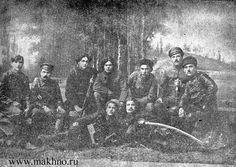 nestor makhno (center) with comrades. his brother grigoriy is second from left. Albert Camus, Daguerreotype, Insurgent, Revolutionaries, War, History, Don't Forget, History Books, Historia