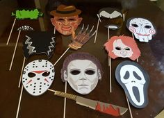 Halloween horror movies photo booth props by Cre8iveDesignss