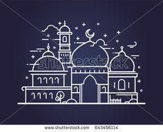 Creative illustration of a Mosque in line style. Ramadan Kareem background. Ramadan Kareem celebration.