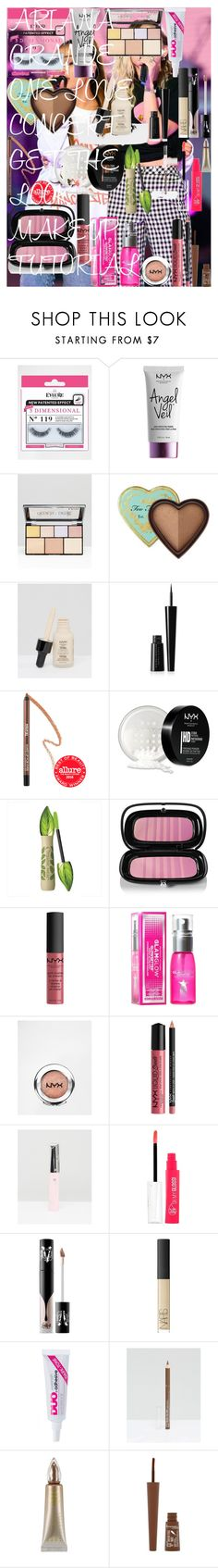 ARIANA GRANDE ONE LOVE CONCERT GET THE LOOK MAKEUP 'TUTORIAL' by oroartye-1 on Polyvore featuring beauty, Kat Von D, Estée Lauder, NARS Cosmetics, Marc Jacobs, Too Faced Cosmetics, MAKE UP FOR EVER, NYX, eylure and Rimmel