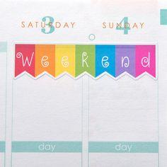 Straight Weekend Banner Stickers Set of 12 Erin by HipDigiChick