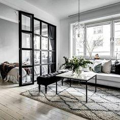 Elegant Scandinavian Interior Design Decor Ideas For Small Spaces 20 Studio Apartment Decorating, Apartment Interior, Living Room Interior, Home Decor Bedroom, Living Room Decor, Small Apartment Design, Apartment Goals, Apartment Layout, Bedroom Loft