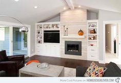 Ideas for contemporary fireplace with built-ins and TV nook. Ideas for contemporary fireplace with built-ins and TV nook. Off Center Fireplace, Built In Around Fireplace, Fireplace Built Ins, Fireplace Remodel, Fireplace Design, Modern Fireplace, Fireplace Wall, Fireplace Ideas, Fireplace Bookcase