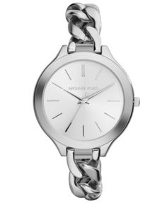 Michael Kors Women's Slim Runway Stainless Steel Chain Bracelet Watch 42mm MK3279 | macys.com