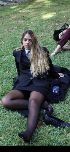 School Uniform Outfits, Cute School Uniforms, Girls Uniforms, Black Pantyhose, Black Tights, Beautiful Legs, Beautiful Outfits, Tight Dresses, Girls Dresses