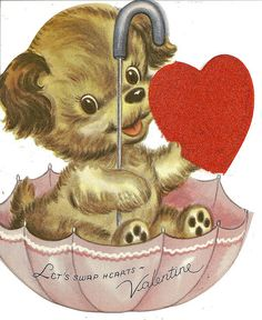 Items similar to Vintage For A Wonderful Teacher Puppy In An Umbrella Valentines Greetings Card on Etsy Happy Valentines Day Card, Valentines Greetings, Valentine Greeting Cards, Valentine's Day Greeting Cards, Vintage Valentine Cards, Vintage Greeting Cards, Vintage Holiday, Vintage Postcards, Valentine Tree
