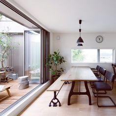 kcoさんの、そらのま,シンプルな暮らし,へーベルハウス,シンプルライフ,シンプル,新築,植物,観葉植物,ダイニング,庭,ウッドデッキ,キッチン,のお部屋写真 Cocina Office, Casa Patio, Room Lights, Dream Decor, Great Rooms, Ideal Home, New Homes, House Design, Furniture