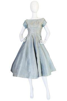 1950s Ice Blue Silk Organza Suzy Perette Dress