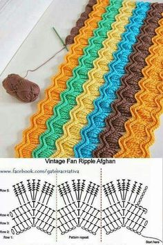 Crochet Stitches Design I love the color choices in this crochet vintage fan ripple blanket made by Chiaki of Chiaki Creates! - I love the color choices in this crochet vintage fan ripple blanket made by Chiaki of Chiaki Creates! Crochet Ripple, Love Crochet, Knit Or Crochet, Crochet Crafts, Crochet Stitches, Crochet Hooks, Crochet Projects, Ripple Afghan, Crochet Blankets