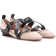 Valentino Valentino Garavani v-Punk Suede Ballerinas (1,540 SGD) ❤ liked on Polyvore featuring shoes, flats, ballerinas, pink, punk shoes, pink suede shoes, ballerina shoes, pink flats and suede shoes