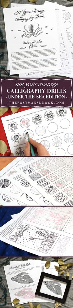 These imaginative marine-themed calligraphy drills make practice fun! The drills will help you to explore all sorts of different pen movements: circles, long downstrokes, short downstrokes, curved upstrokes — you name it!