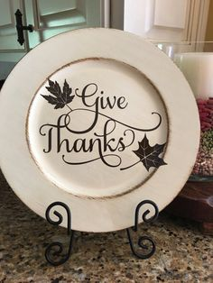 Give Thanks Decorative Plate Charger Plate Crafts, Charger Plates, Plate Chargers, Fall Craft Fairs, Fall Crafts, Holiday Crafts, Wooden Plates, Decorative Plates, Painted Plates