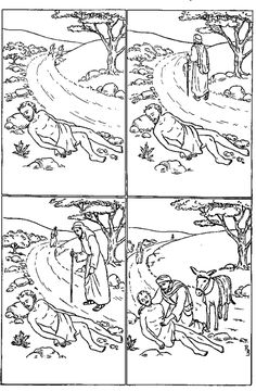 Parable of the good samarian coloring 선한 사마리아인 비유 ... Bible Study For Kids, Bible Lessons For Kids, Sunday School Kids, Sunday School Crafts, Good Samaritan Craft, Sunday School Coloring Pages, Parables Of Jesus, Christian Preschool, Bible Drawing