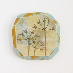 Modern Wood Wall Art, Colorful Acrylic Paint, Modern Pyrography, Geometric Art, Umbels, Mustard & Sky Blue,Faceted Wood, Colorful Nature Art