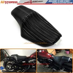 94.99$  Buy here - http://aliyi5.worldwells.pw/go.php?t=32771054568 - Motorcycle Driver Front Rear Passenger Seat Two Up Seat Black For Harley Sportster XL883 XL1200 Iron 48 72 , Custom 2010-2016