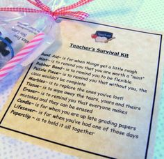 Teacher's Survival Kit  Great Gift For Teachers by heart2homepromo