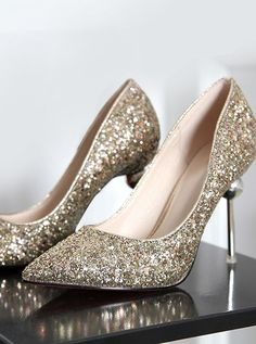 337f521a384fd Gold Pointy Toe Stiletto High Heels with Sequins