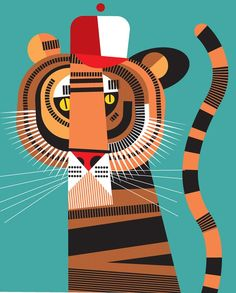 Pablo Will have a solo show of his work in the Illustri Festival in Vicenza, Italy Illustration Inspiration, Tiger Illustration, Character Illustration, Graphic Illustration, Graphic Art, Caricature Art, Tiger Art, Ecole Art, Cat Art