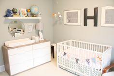 crib and dresser with shelf
