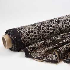 Fabric - Organic Cotton Block Printed with Natural Dyes - Black & White Compass Embroidery Scissors, Yarn Bowl, Stitch Markers, Clothing Patterns, Printing On Fabric, Organic Cotton, Hand Weaving, Fabrics, Sewing Diy