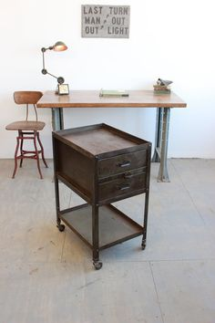 Vintage Industrial Lyon Cart/ Rolling Tool Cabinet/ Side Table, Machine Age - 1940s, Military Green