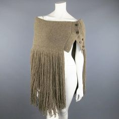 View this item and discover similar for sale at - RALPH LAUREN COLLECTION variegated taupe cashmere scarf includes an oversized shawl collar with layered fringe, button closure with option to wear snug Mature Fashion, I Love Fashion, Crochet Capas, Street Hijab Fashion, Ralph Lauren Style, Fashion Capsule, Fringe Scarf, Crochet Fashion, Cashmere Scarf