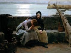 thetranscendentalmodernist:    Never Morning Wore To Evening But Some Heart Did Break - oil on canvas - Walter Langley - c. 1894
