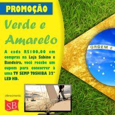 Promoção #VerdeeAmarelo para a Loja Sabino e Bandeira!