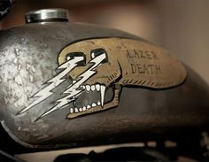 LAZER DEATH skull art on a motorcycle gas tank