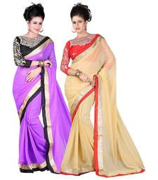 Buy Purple and Beige embroidered chiffon saree with blouse sarees-combo-sari online