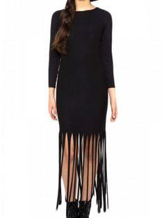 "Women's ""Fringe"" Maxi Dress by Marialia (Black)"