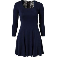 Alice & Olivia Ricci Dress (525 CAD) ❤ liked on Polyvore featuring dresses, navy, womens-fashion, navy skater skirt, blue long sleeve dress, blue skater skirt, blue circle skirt and navy blue lace dress