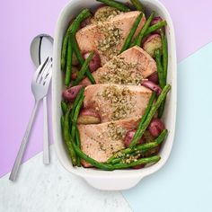 Enjoy this one-pan dinner. All the goodies roast together: well-seasoned salmon, fresh green beans and baby potatoes.