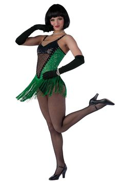 15322 All That Jazz | Tap Jazz Funk Dance Costumes | Dansco 2015 | Color sequin on spandex, black sequin on spandex and black spandex leotard with nude mesh insert and glitter printed flocked black mesh overlay. Attached fringe skirt. Rhinestone on stretch velvet trim and straps.