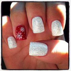 Red sparkle Christmas nails ~sparkle nails, and a red ring finger nail with snowflakes and little white dots... adorable!~