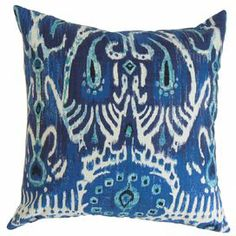 "Cotton pillow with an ikat-inspired motif and feather-down fill. Made in the USA.   Product: PillowConstruction Material: Cotton cover and 95/5 down fillColor: NavyFeatures:  Insert includedHidden zipper closureMade in the USA Dimensions: 18"" x 18"""