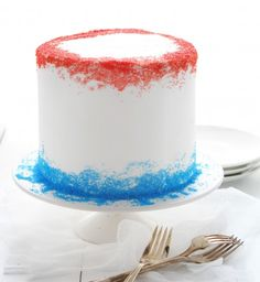 Red White and Blue Surprise-Inside Cake!