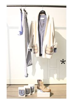 NEW COLLECTION MEN SS13 at the shop at HUMANOID*:  CARDIGAN #FOLK!, JEANS #ACNE, SHOES #MOMA, SWEATER #FRANCISCOVANBENTHUM, UNDERWEAR #UNDER