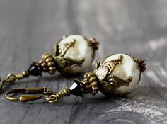 Neo Victorian Snow White Pearl Earrings Swarovski by MsBsDesigns