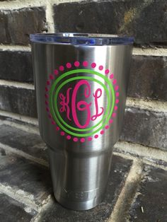 Masculine Split Letter Monogram Vinyl Decal Yeti Water Bottle - Vinyl cup decals