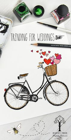 Wedding Invitations with a vintage theme. Bicycle love. Welcome to HoneyTree - Premium Bespoke, Illustrated & Personalised Stationery to #CreateABuzz.