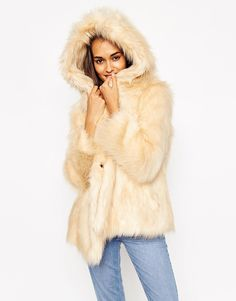 """Coat by ASOS Collection Faux fur Fully lined Soft-touch finish Oversized hood Concealed press-stud fastening Side pockets Regular fit - true to size Dry clean 44% Modacrylic, 31% Acrylic, 25% Polyester Our model wears a UK 8/EU 36/US 4 and is 176 cm/5'9.5"""" tall"""