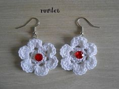 4 earrings made of violet,white ,black cotton.size 3 cm