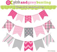Erin Bradley Designs: NEW! Blue, Pink & Yellow (and Gray!) Bunting Graphics