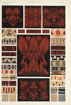 "Image Plate from Owen Jones' 1853 classic, ""The Grammar of Ornament"". Greek Pattern, Pattern Art, Pattern Design, Graphic Design Books, Book Design, Owen Jones, Motifs Textiles, Ancient Greek Art, Image Plate"