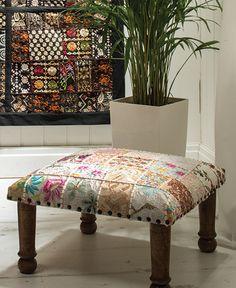 Khambadia patchwork footstool > Khambadia Patchwork Furnishings > Furnishings > Namaste Home Page > Namaste-UK Ltd