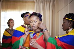 South AFrican Wedding Ndebele bride getting ready