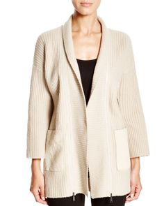 Elie Tahari Perry Mixed Media Cardigan